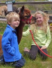 Some of friendliest of alpaca enthusiasts... Fin and Bailey Clark, enjoy meeting Hottie at our Alpaca Meet & Greet